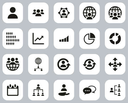 World Population Icons Black & White Flat Design Set Big