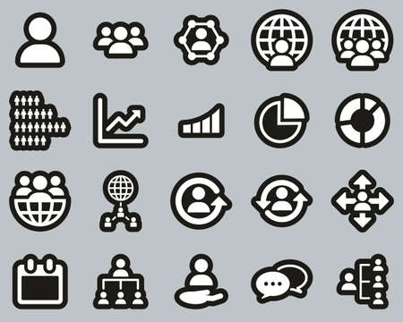 World Population Icons White On Black Sticker Set Big
