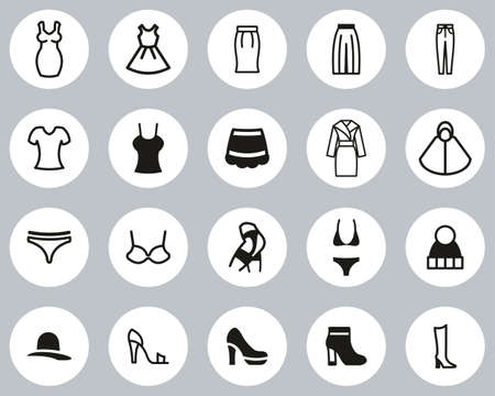 Woman s Clothing Icons Black & White Flat Design Circle Set Big