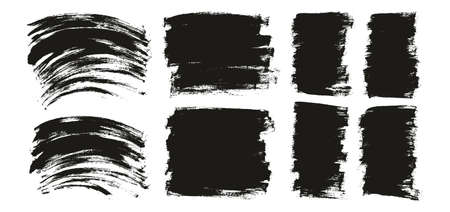 Flat Paint Brush Thin Curved & Long & Short Background High Detail Abstract Vector Background Set