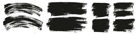 平油漆刷薄弯曲&长&短背景高细节抽象矢量背景集合图