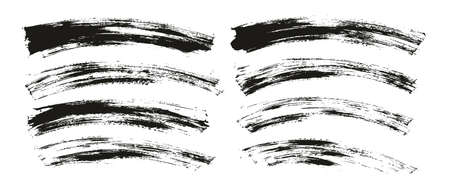 Flat Paint Brush Thin Curved Background High Detail Abstract Vector Background Set