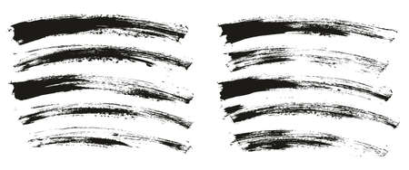 Flat Paint Brush Thin Curved Background High Detail Abstract Vector Background Set 向量圖像