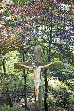 Jesus Christ statue on wild forest background best quality prints Standard-Bild