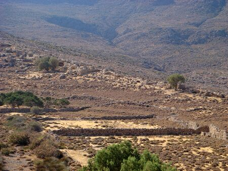 Desert road to karoumes beach crete island