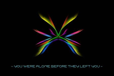 Text you were alone before they left you quote with a psychedelic design background 免版税图像
