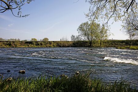 Lippe river in Germany village background wallpaper high quality prints fine art gallery products