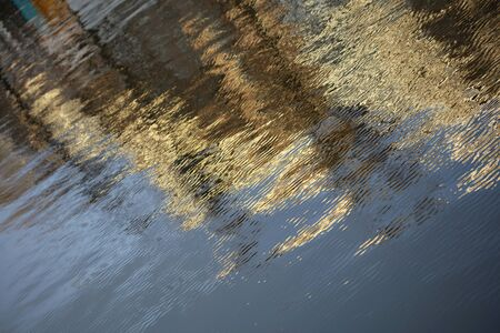 Buildings reflection on canal water amsterdam high quality