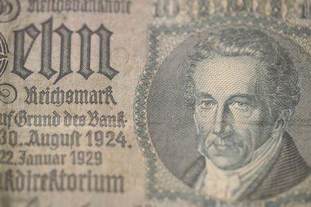 Old original german money macro background fifty megapixels stock photography