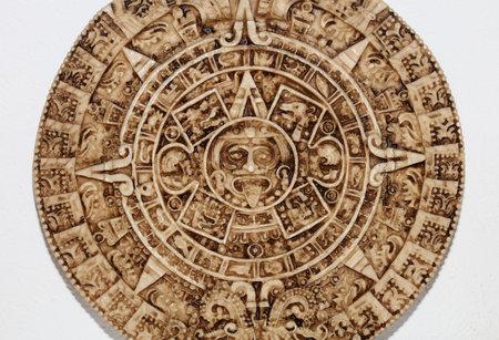 Aztec sun stone close up background modern high quality print