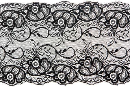 black lace: flowered  black lace on white background