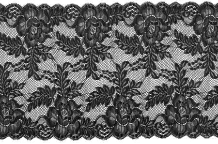 flowered: flowered  black lace on white background
