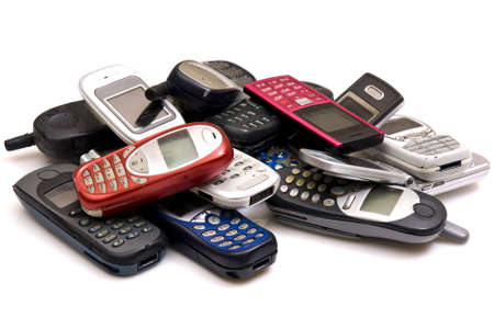 cellphone: used old GSM Cell phones  Stock Photo
