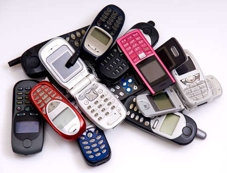gsm: used old GSM Cell phones  Stock Photo