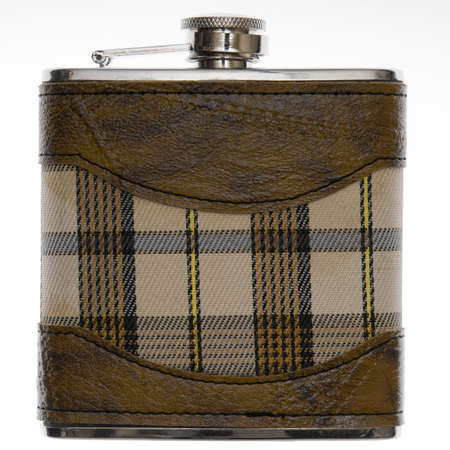 hip flask: Metal hip flask isolated on white background.