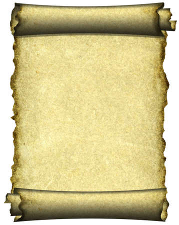 Manuscript, burnt rough roll of parchment paper texture background photo