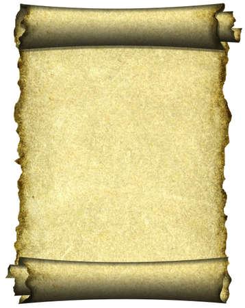 Manuscript, burnt rough roll of parchment paper texture background photo