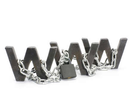 Three metal WWW letters chained and locked with padlock Stock Photo - 4574496