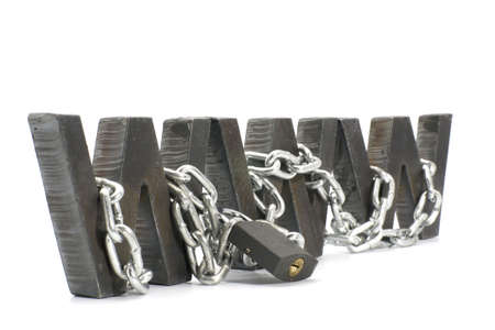 Three metal WWW letters chained and locked with padlock Stock Photo - 4574498