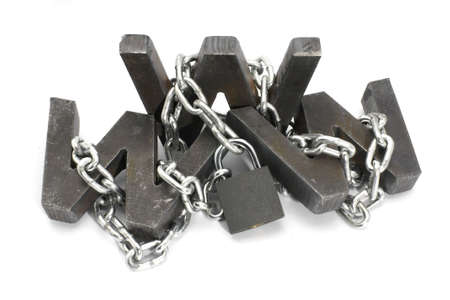 Three metal WWW letters chained and locked with padlock Stock Photo - 4574509