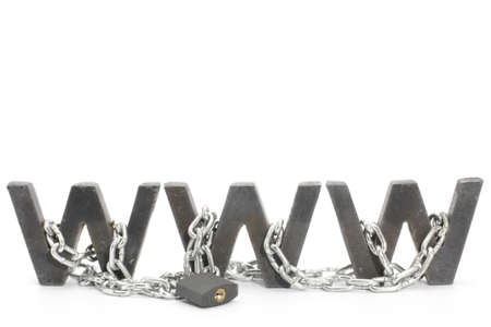 Three metal WWW letters chained and locked with padlock Stock Photo - 4574495