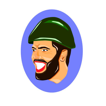 Portrait of young smiling. Army soldier man from war. Vector illustration