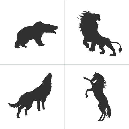 vector silhouettes of lion, horse, bear, wolf. Stock Vector illustration isolated on white background.