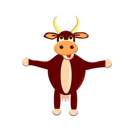 Cartoon cute pretty cow standing and smiling. Vector illustration of a cow icon isolated on white background.