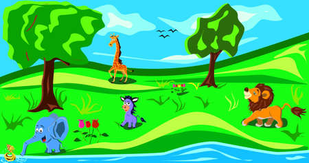 Animals in the wood. Funny cartoon and vector illustration, isolated objects.There are elephant,lion,giraffe,pony and fish. Vector