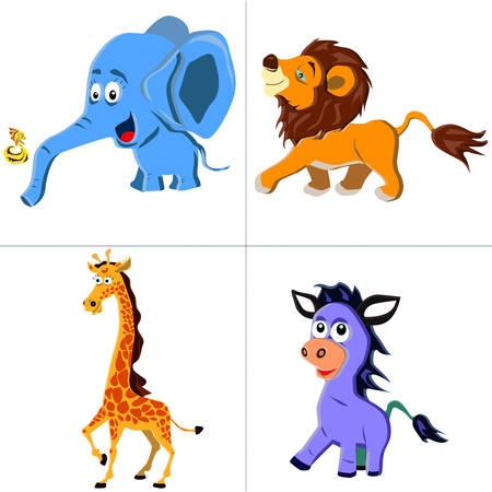 Cute safari animals set - lion, zebra, giraffe,fish and elephant Vector Illustration on white