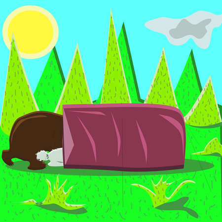 Camping In Summer with Animal Friends. Bear and rabbit in the tourism tent.Cartoon vector illustration