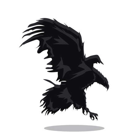 Flying Eagle, spread out its feather. black eagle on white background.Logo.Vector illustration. Ilustracja