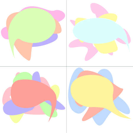 Set of speech color Bubbles on top of each other.Vector illustration.Flat design