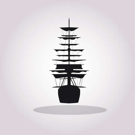 Old tall ship with sails vector icon. Black frigate silhouette on white background.Vector illustration