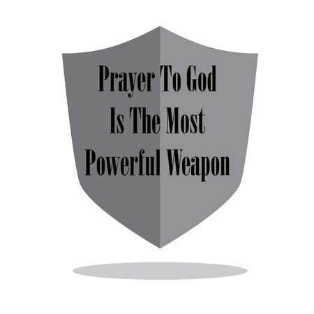 Hand lettering Prayer to God is the most powerful weapon . Bible verse. Christian poster. Quote