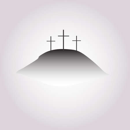 Gray Calvary icon with three crosses on light background. Vector illustration. Calvary sign in flat design.EPS 10