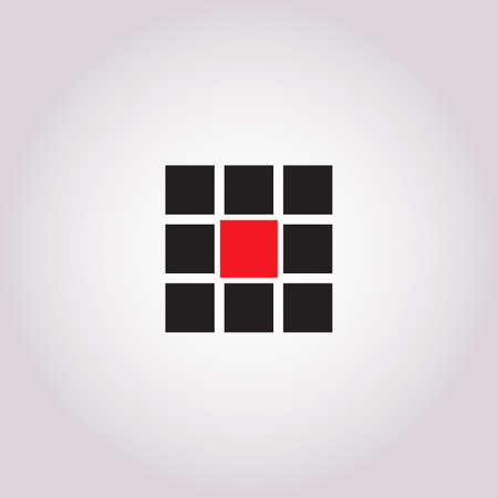 9 blank square icon set.Black squares on grey background with red in the middle. Internet design element.Vector illustration EPS 10 向量圖像