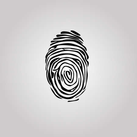 Finger print flat scan. Circle Fingerprint icon design for application. Vector illustration isolated on white background