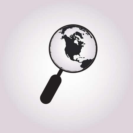 Magnifying Glass Globe Icon In Trendy Design Vector Eps 10 Ilustracja
