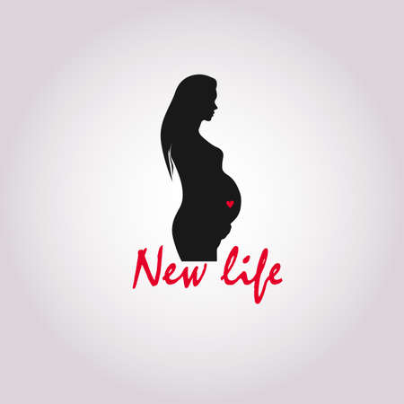 Vector flat line icon on pregnancy. Beautiful abstract prenatal pregnant woman linear symbol