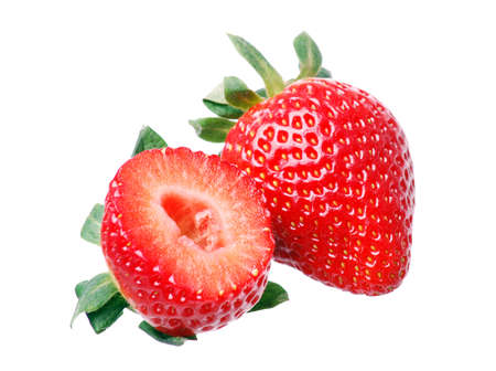 Fresh strawberries in white background photo