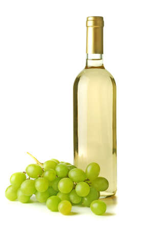 Wine bottle with grappes in white background Stock Photo - 9136089