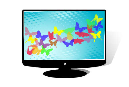fullhd: LCD TV in white background, vector illustration