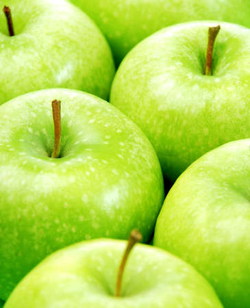 Green apple background close up photo