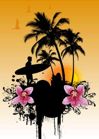 palmetto: Tropical background  vector illustration