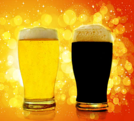 Gold and black beer photo