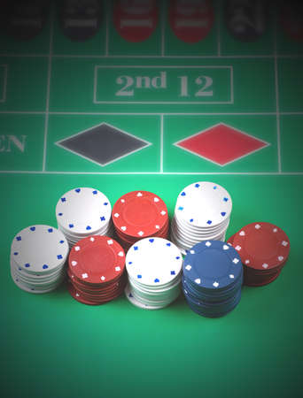 Gambling chips on table photo