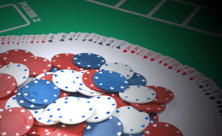 Poker cards with gambling chips photo
