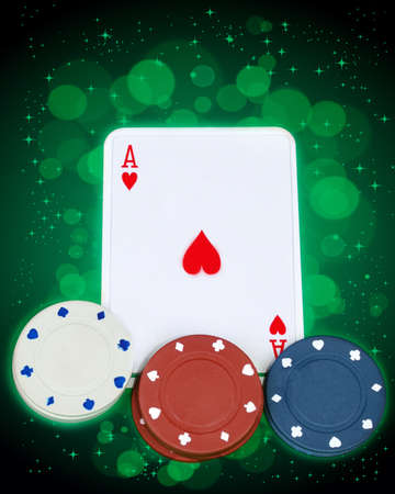 Ace with gambling chips Stock Photo - 9249120