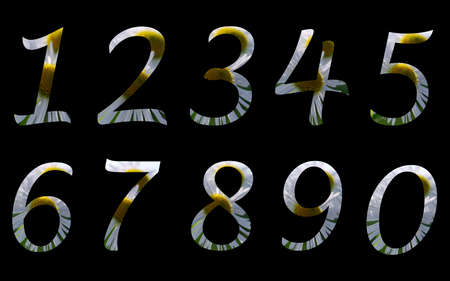 Summer numbers in black background photo